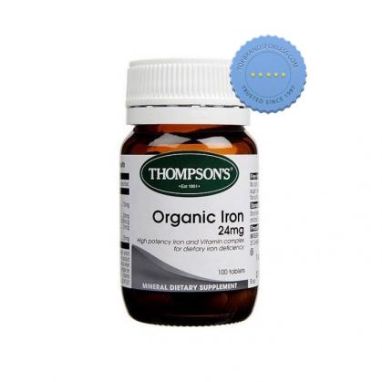 Buy Thompsons Organic Iron 24mg 100 Tablets -