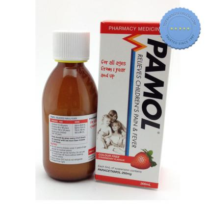 Buy pamol all ages strawberry cf 250mg 200ml -