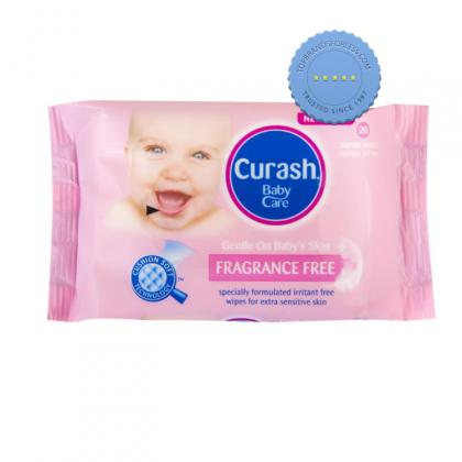 Buy curash fragrance free baby wipes travel 20 -