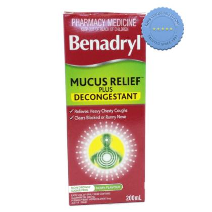 Buy benadryl mucus relief decongestant 200ml -