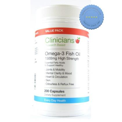Buy Clinicians Omega 3 Fish Oil 1500mg High Strength 200 Capsules -