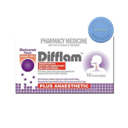 Buy Difflam Anaesthetic Sugarfree Blackcurrant 16 Lozenges