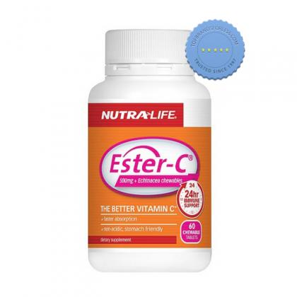 Nutralife Ester C 500mg Plus Echinacea 60 Chewable Tablets