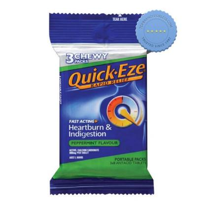 Buy Quick Eze Rapid Relief 3 Chewy Peppermint Packs x 8 -
