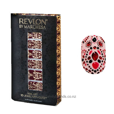 revlon by marchesa nail art 3d jewel appliques 18 appliques evening garnet -