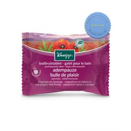 Kneipp Sparkling Bath Tablet Pure Bliss Red Poppy and Hemp 80g