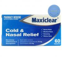 Buy Maxiclear Cold and nasal Relief 60 Tablets -